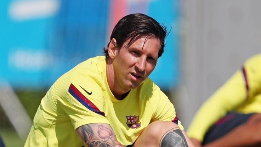 Messi nas atividades de hoje no Barcelona, sem a tradicional barba - Reprodução / Instagram