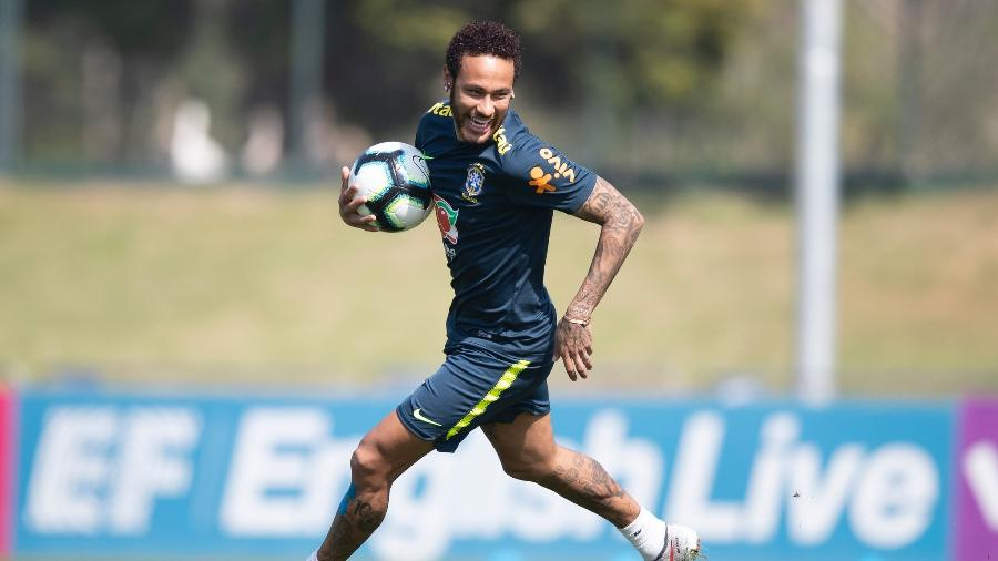 O atacante Neymar durante treino da seleção brasileira em 2019 - Lucas Figueiredo/CBF