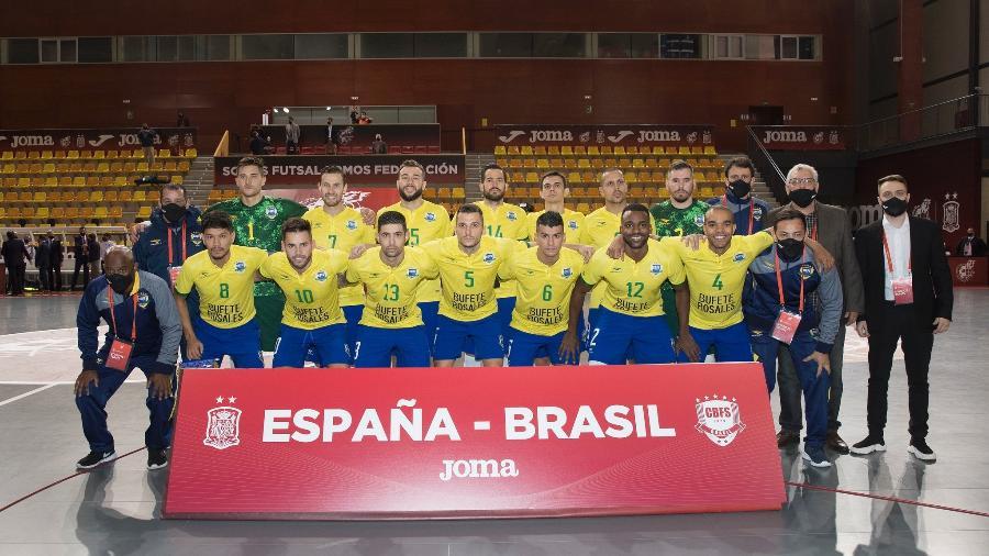 Seleção brasileira masculina de futsal antes de amistoso contra a Espanha, em novembro de 2020 - Pedro Gonzalez