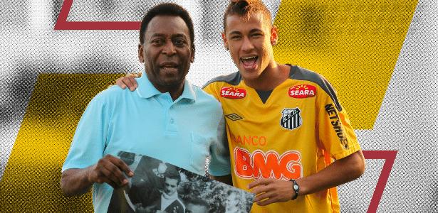 Pelé destaca mudança de posicionamento de Neymar na seleção em comparação ao PSG - Arte/UOL
