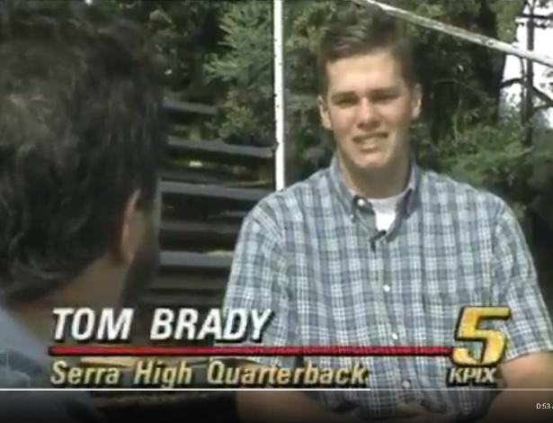Tom Brady em entrevista antes de ser um jogador profissional