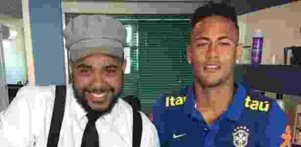 """Everson """"Perninha"""" e Neymar na concentração da seleção na Granja Comary - Arquivo Pessoal"""