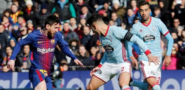 Lionel Messi em ação durante jogo do Barcelona com o Celta