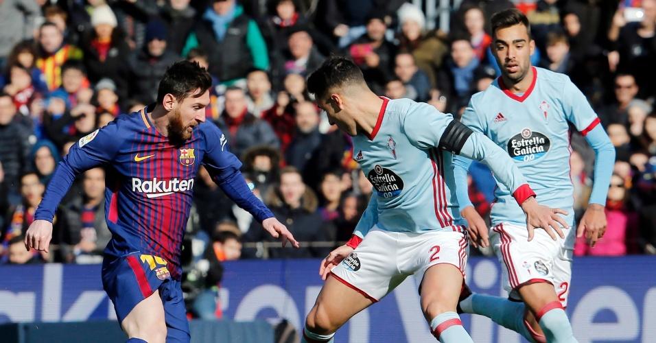 Messi tenta jogada em Barcelona x Celta