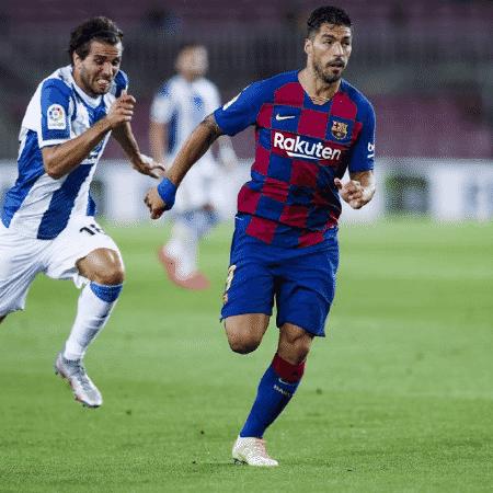 O atacante Luis Suárez participou de 34 jogos na temporada atual - Reprodução/Twitter/Barcelona