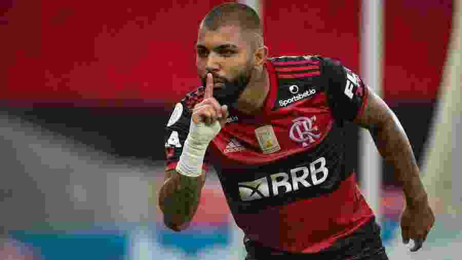 Gabigol faz sinal de silêncio em comemoração do gol da vitória do Flamengo sobre o Fortaleza - Alexandre Vidal / Flamengo