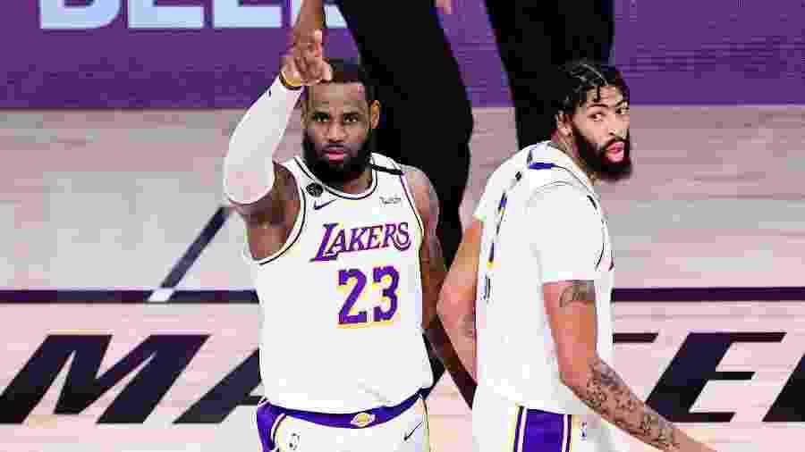 LeBron James e Anthony Davis, campeões da NBA na temporada 2019-20 - Divulgação/NBA