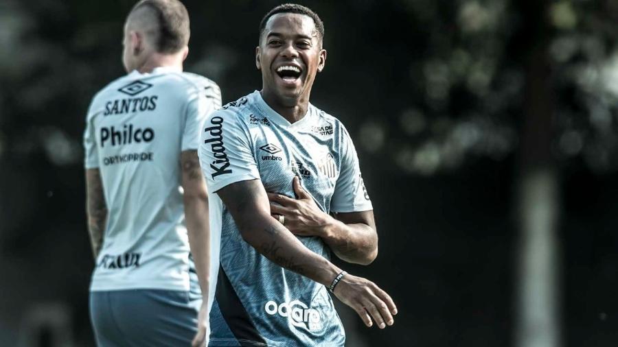 Robinho sorri em treino no Santos - Ivan Storti/Santos FC