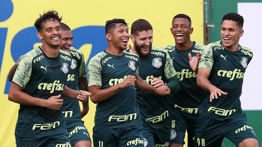 Jogadores do Palmeiras durante treino na Academia de Futebol - Cesar Greco