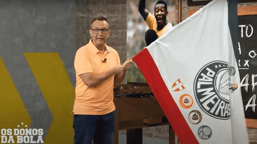Neto com bandeira do Palmeiras - Reprodução/Band