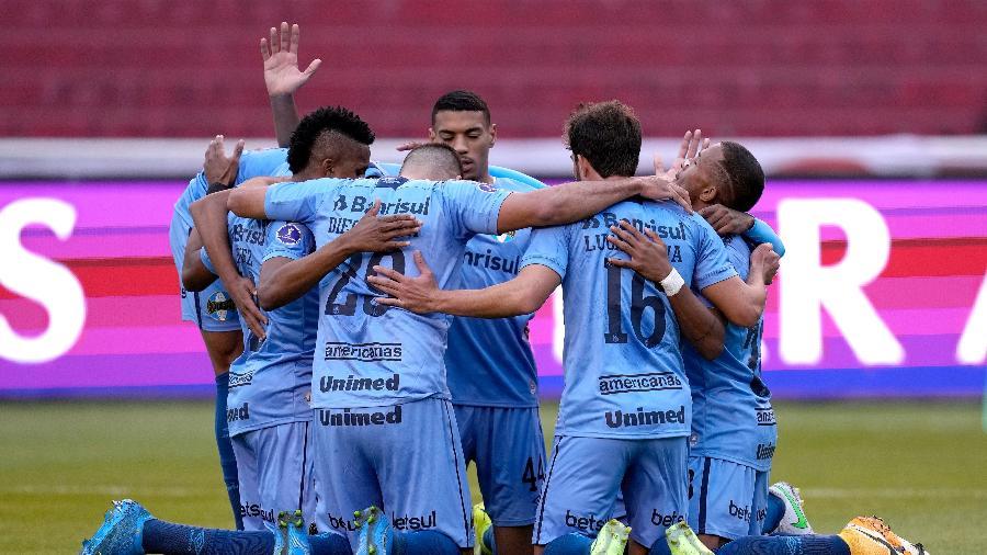 Grêmio comemora gol contra LDU pelas oitavas da Sul-Americana - Getty Images