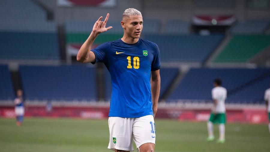 Richarlison comemora gol contra a Arábia Saudita pela seleção brasileira - Lucas Figueiredo/CBF