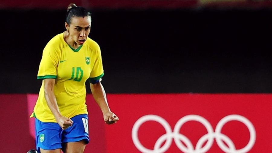 Marta faz careta na eliminação do Brasil para o Canadá nas quartas de final das Olimpíadas de Tóquio - REUTERS/Amr Abdallah Dalsh