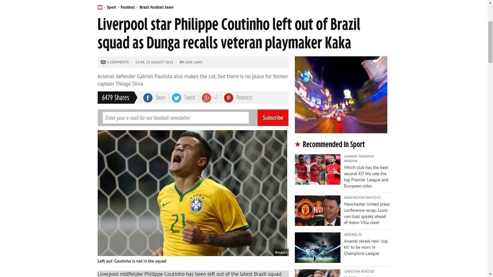 Jornal Daily Mirror destaca ausência de Philippe Coutinho em convocação do Brasil para amistosos