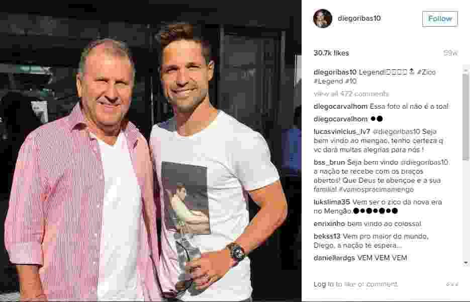 Diego é um grande fã de Zico, o maior ídolo da história do Flamengo - Reprodução Instagram