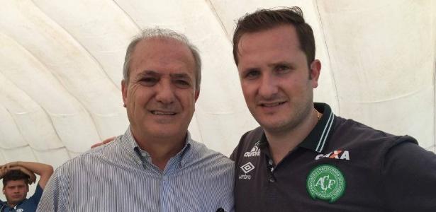 Ivan Tozzo, novo presidente da Chapecoense, ao lado do filho Rafael