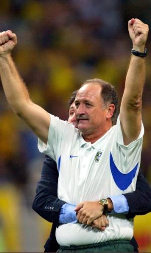 Luiz Felipe Scolari, técnico da seleção, comemora Copa do Mundo de 2002