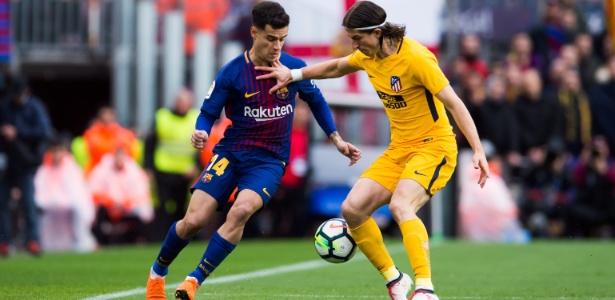 Philipe Coutinho marca Filipe Luís no duelo entre Barcelona e Atlético de Madri