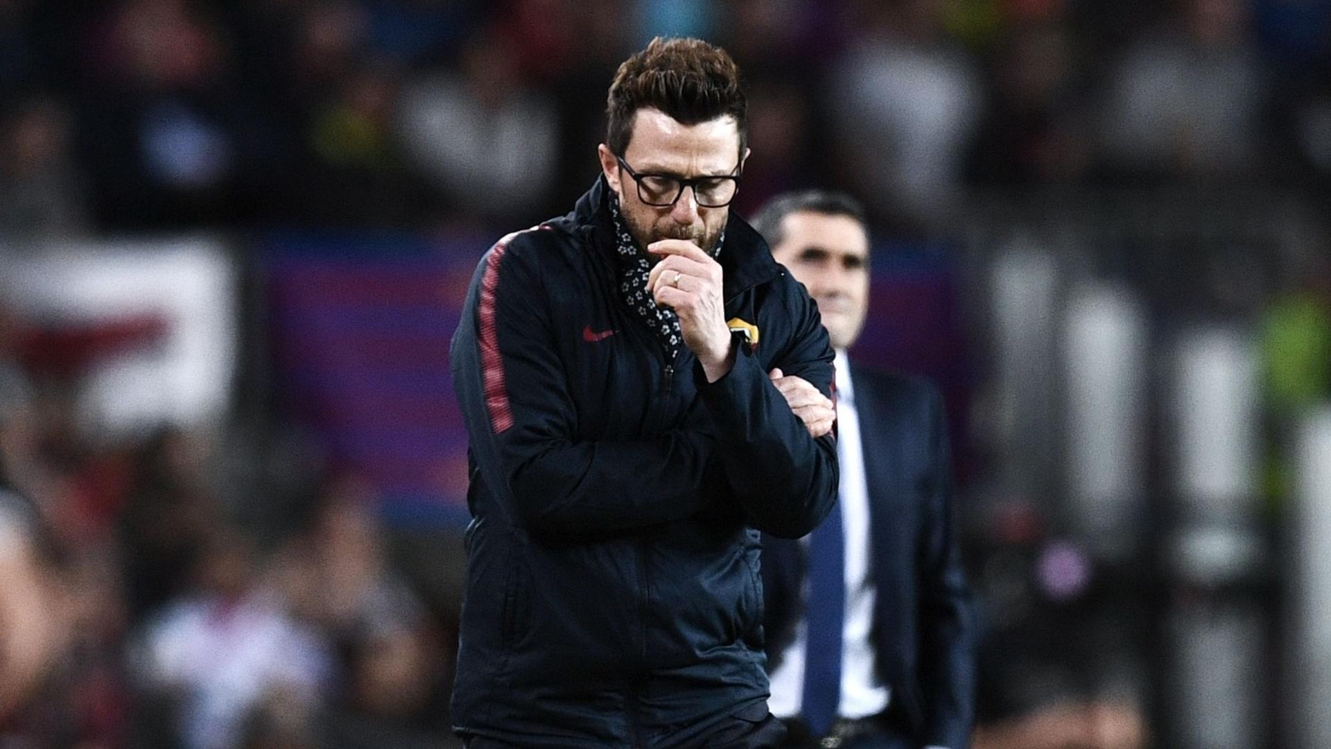 Eusebio Di Francesco, técnico da Roma, durante a partida contra o Barcelona