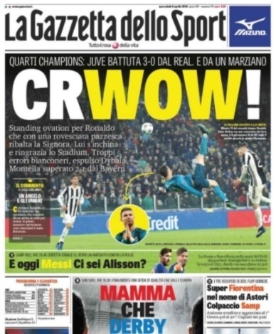 Gazzetta dello Sport celebra o gol do Cristiano Ronaldo