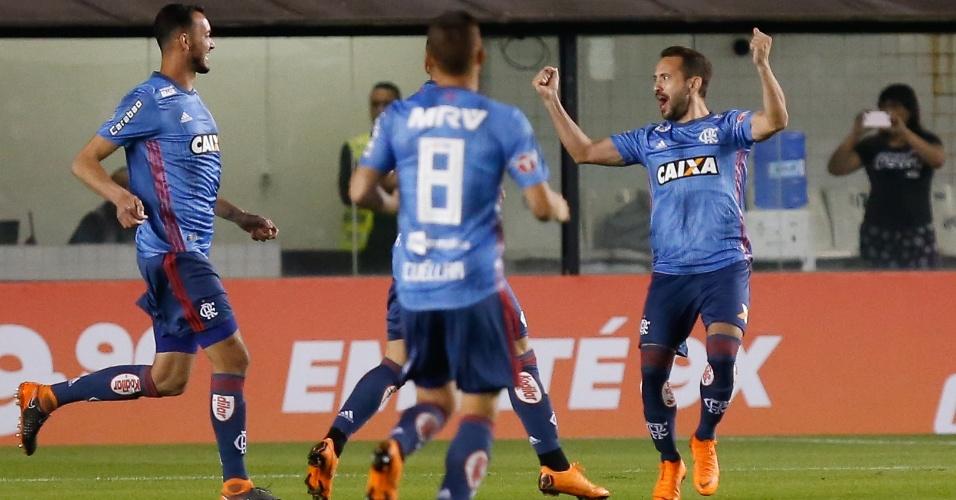 Jogadores do Flamengo comemoram gol diante do Santos