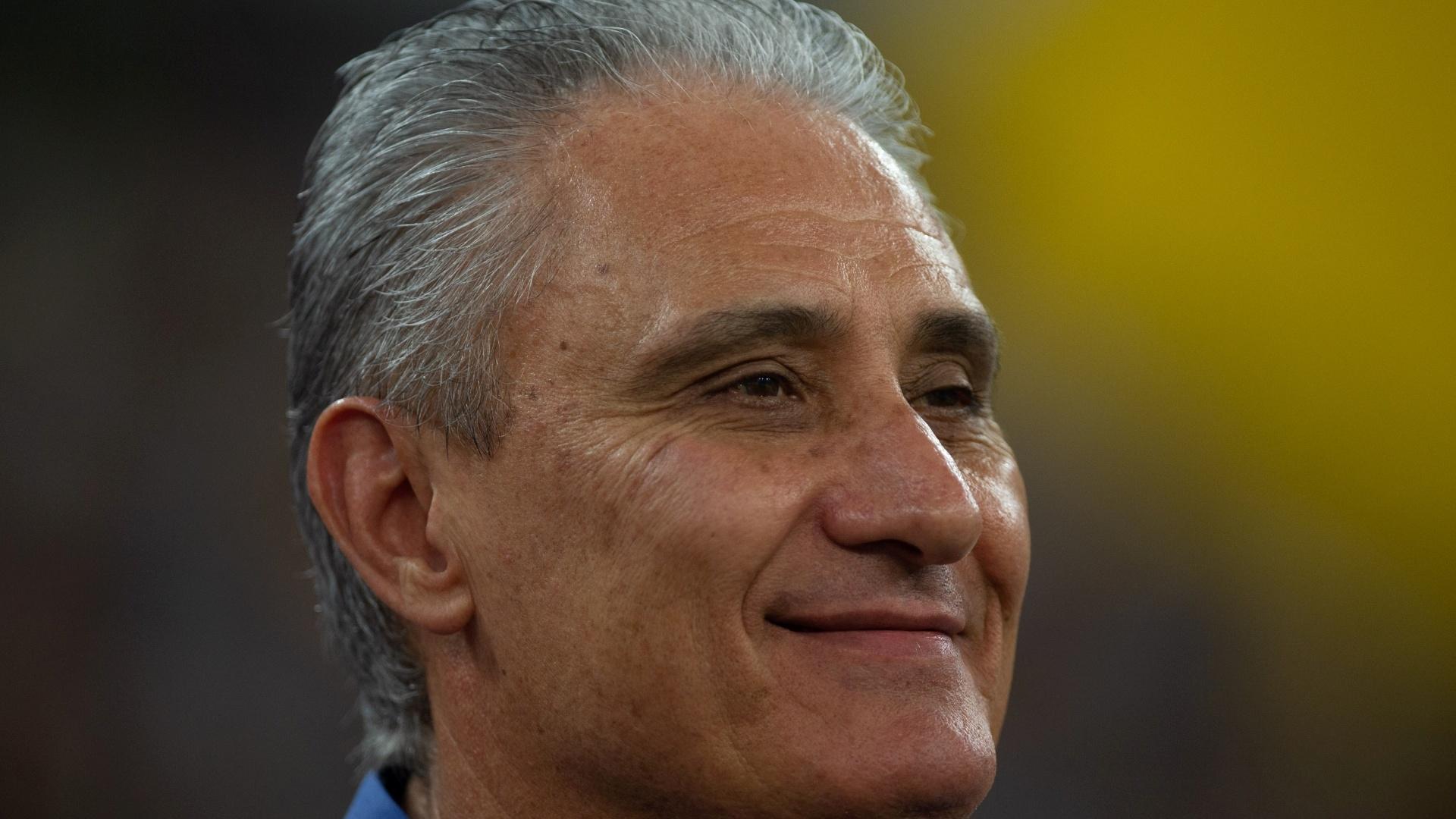 Tite, técnico da seleção brasileira, durante jogo contra a Argentina