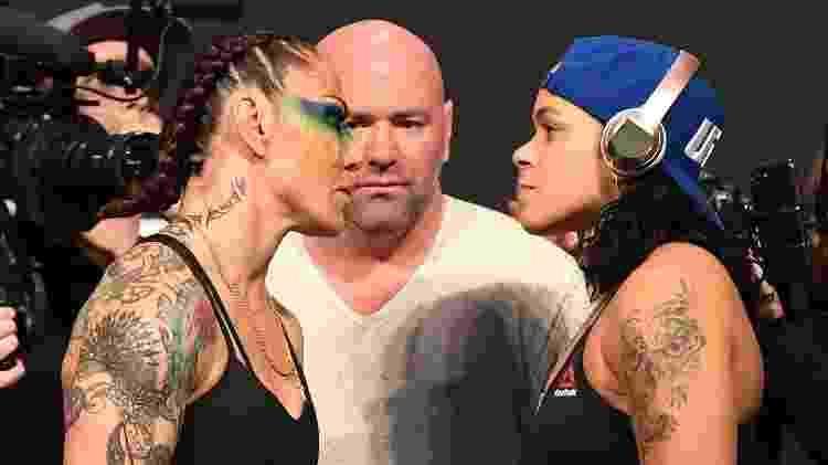 A encarada entre as brasileiras Cris Cyborg e Amanda Nunes para o UFC 232, em Los Angeles - Josh Hedges/Zuffa LLC/Zuffa LLC via Getty Images