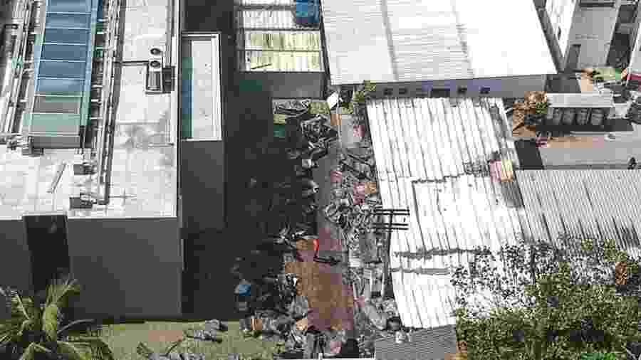 Imagem aérea do CT do Flamengo após incêndio - EPA