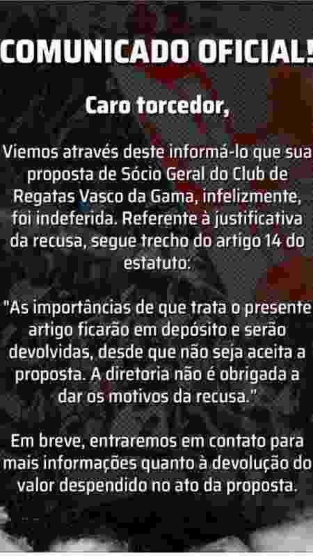 Comunicado do Vasco às pessoas que tiveram pedidos de associação negados - Reprodução