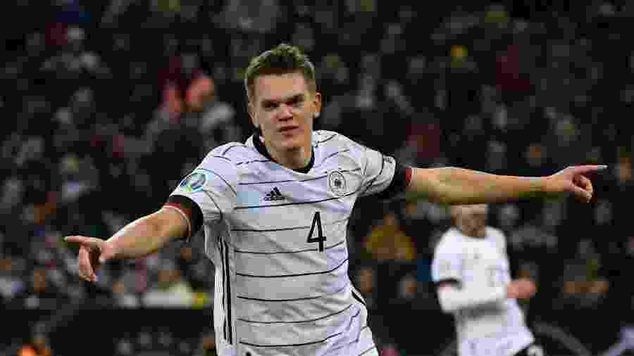 Alemanha x Belarus: Matthias Ginter comemora gol da Alemanha nas eliminatórias da Euro 2020 - Ina Fassbender/AFP