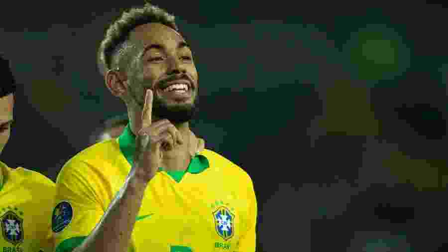 Matheus Cunha comemora gol pela seleção brasileira contra o Uruguai no Pré-Olímpico - Lucas Figueiredo/CBF
