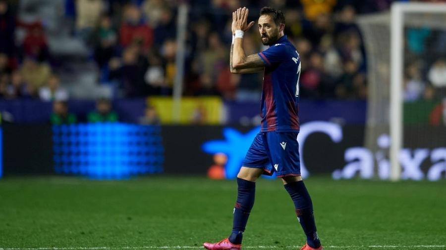 22.fev.2020 - Morales comemorando o gol do Levante sobre o Real Madrid - NurPhoto via Getty Images
