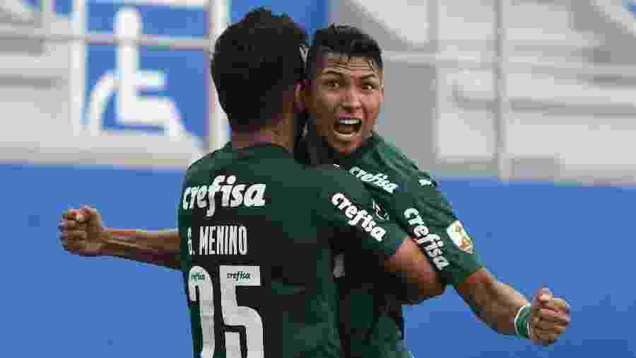 Rony comemora gol marcado pelo Palmeiras contra o Delfín, em jogo da Copa Libertadores 2020 - Ariel Ochoa - Pool/Getty Images