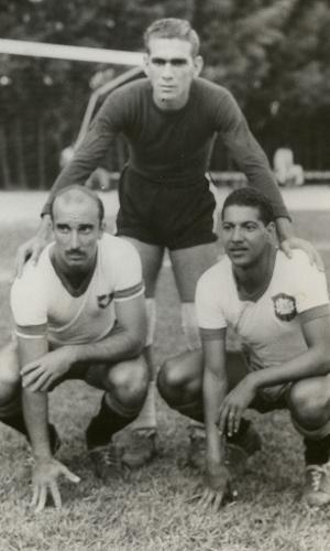 Augusto da Costa, Castilho e Juvenal, durante treino da seleção brasileira na Copa do Mundo de 1950