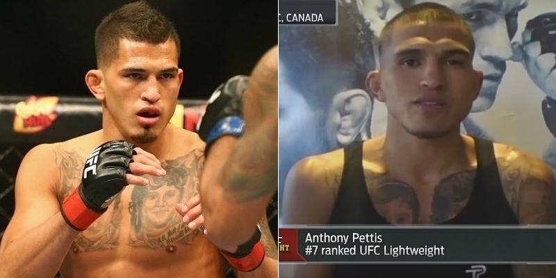 Anthony Pettis como peso leve (esquerda) e peso pena (direita)