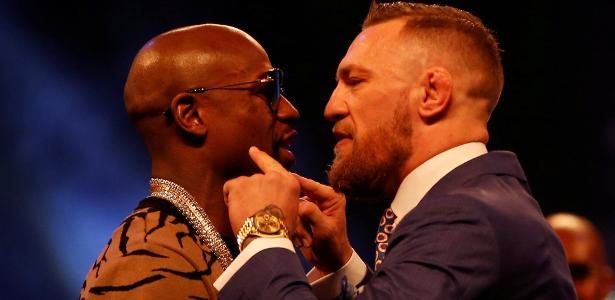 Mayweather e McGregor se encararam durante evento em Londres