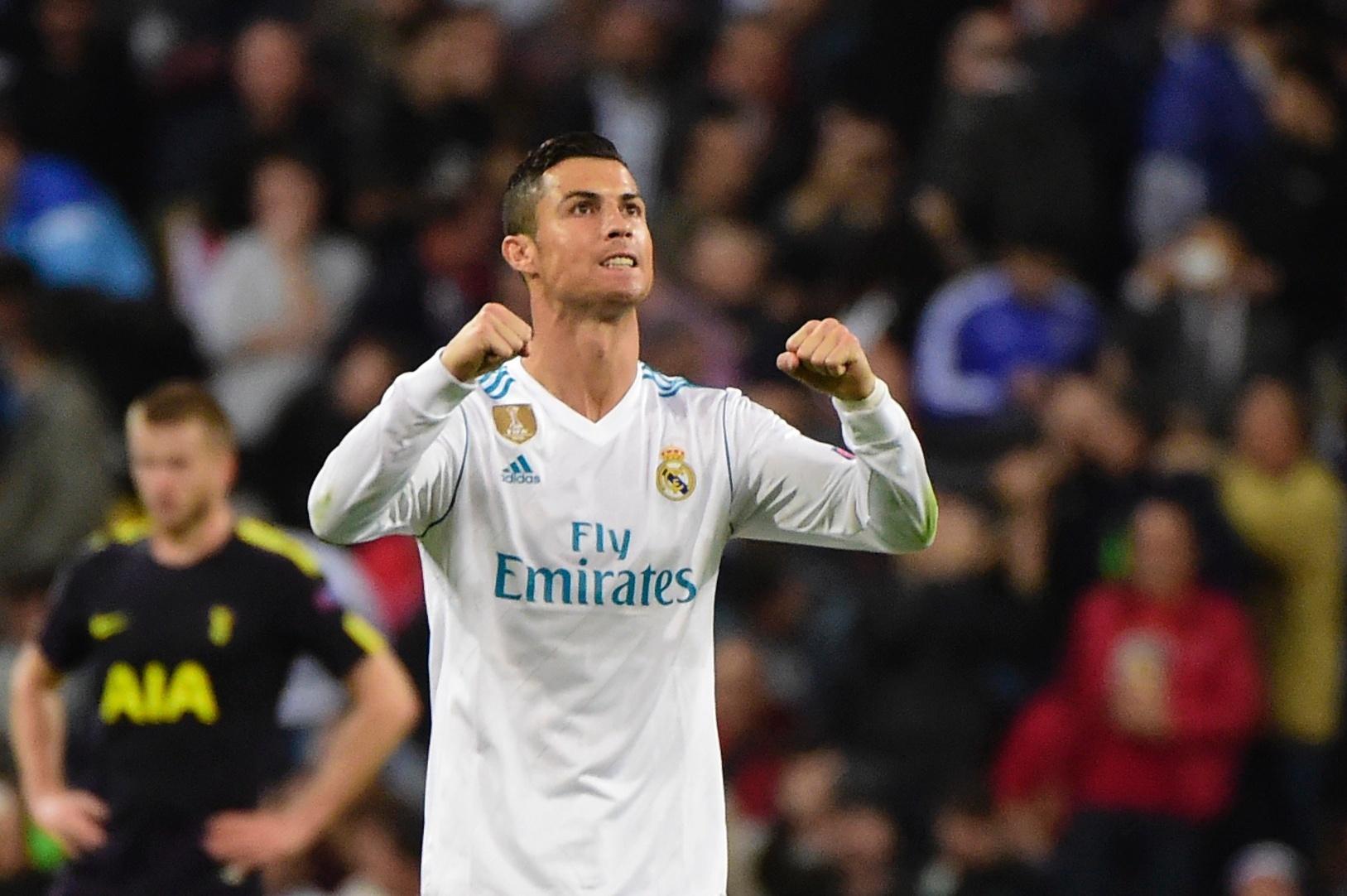 Cristiano Ronaldo comemora gol do Real Madrid contra o Tottenham