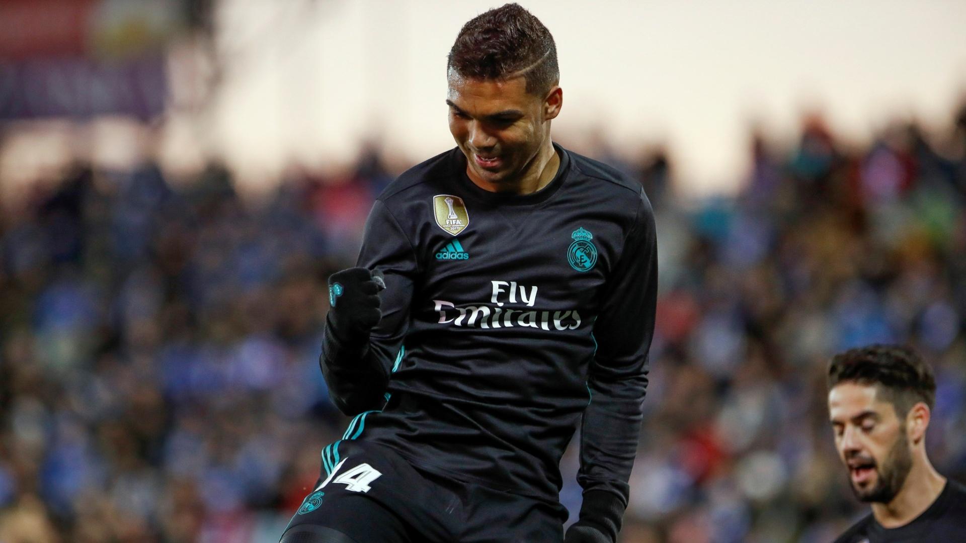 Casemiro comemora a virada do Real Madrid sobre o Leganés