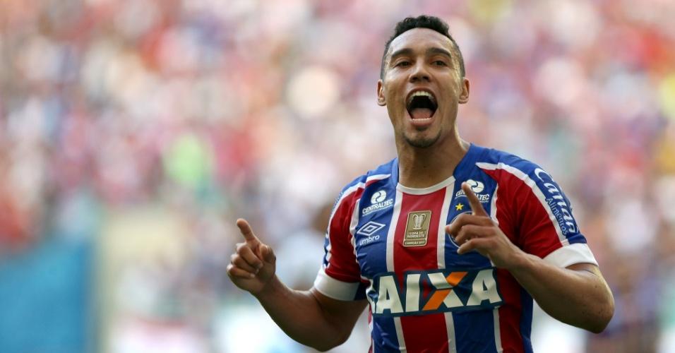 Edigar Junio comemora gol do Bahia sobre o São Paulo no Campeonato Brasileiro