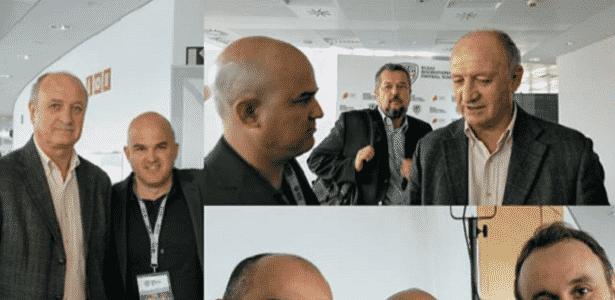 Jubero publicou montagem em que aparece tietando Felipão e Roberto Martínez em abril - Reprodução