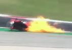 Motocicleta pega fogo em acidente impressionante durante prova em Portugal - Reprodução