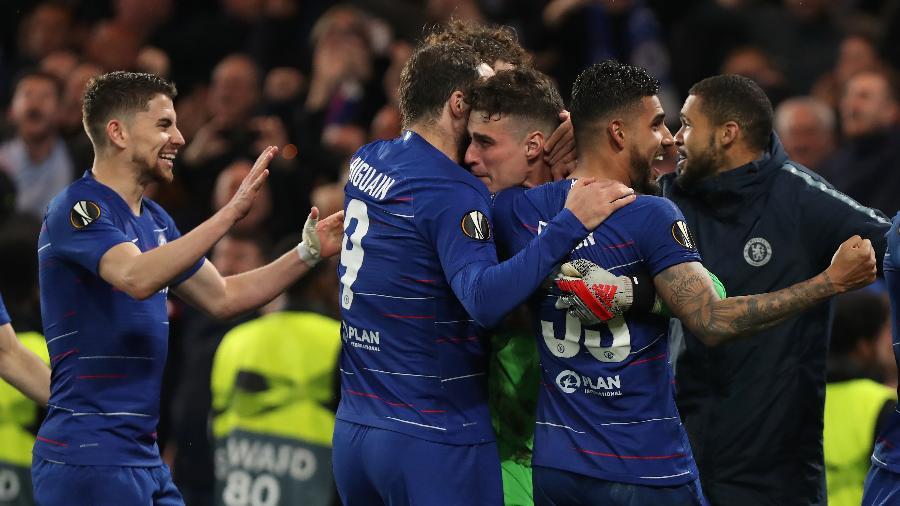 Chelsea comemora classificação para a final da Liga Europa, na qual enfrentará o Arsenal - Shaun Brooks/Action Plus via Getty Images
