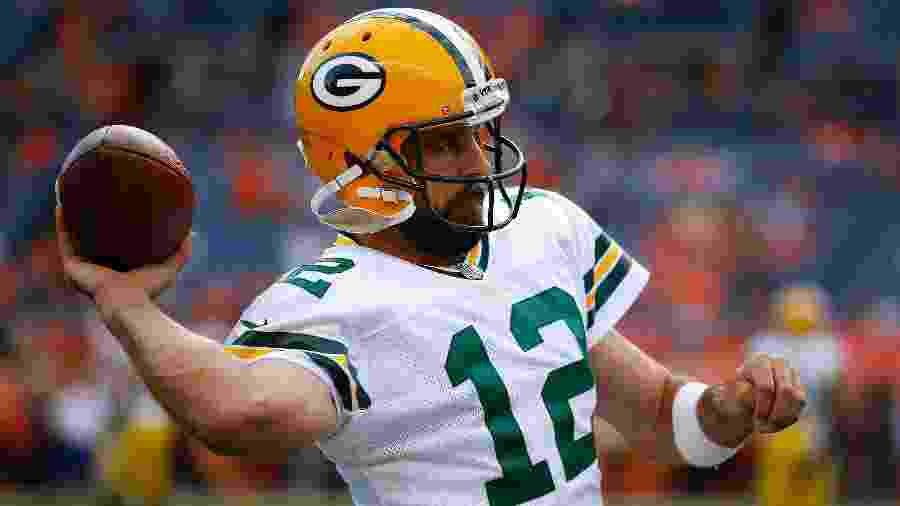 Aaron Rodgers, durante partida pelo Green Bay Packers - Justin Edmonds/Getty Images/AFP