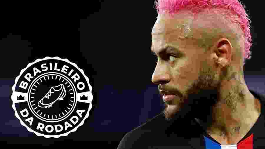 Neymar em ação pelo PSG contra o Montpellier; atacante foi eleito o brasileiro da rodada pelo UOL Esporte - Arte UOL sobre foto de Gonzalo Fuentes/Reuters