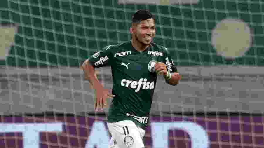 Rony comemora gol marcado pelo Palmeiras na goleada sobre o Bolívar na Libertadores 2020 - Amanda Perobelli - Pool/2020 Pool