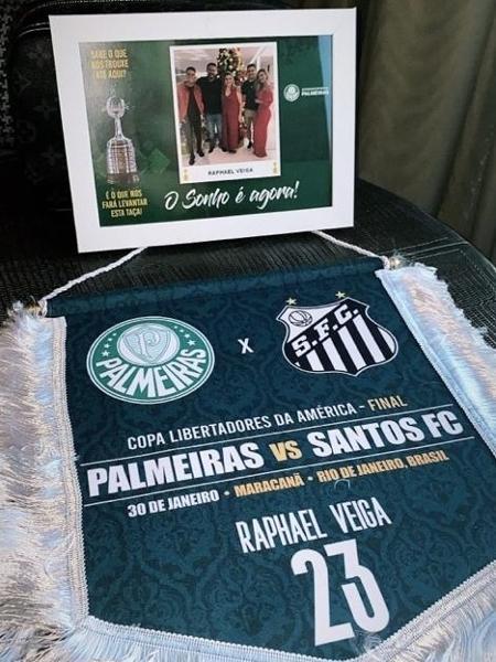 Jogadores do Palmeiras recebem kit em hotel: flâmula e foto das famílias - Reprodução