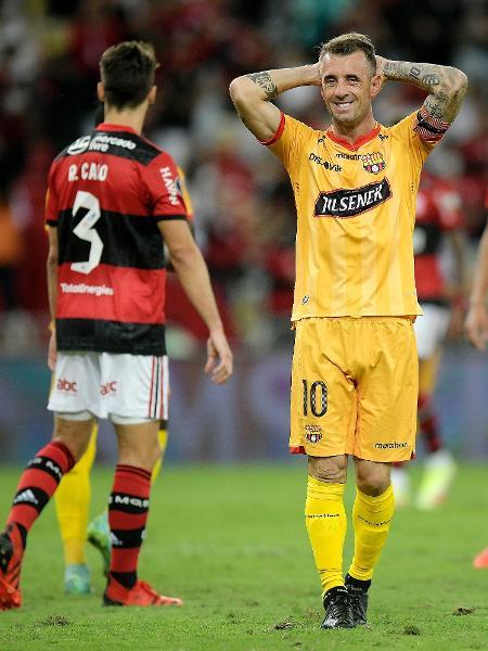 Damián Díaz, jogador do Barcelona-EQU lamenta chance perdida na partida contra o Flamengo, no Maracanã - Staff Images / CONMEBOL