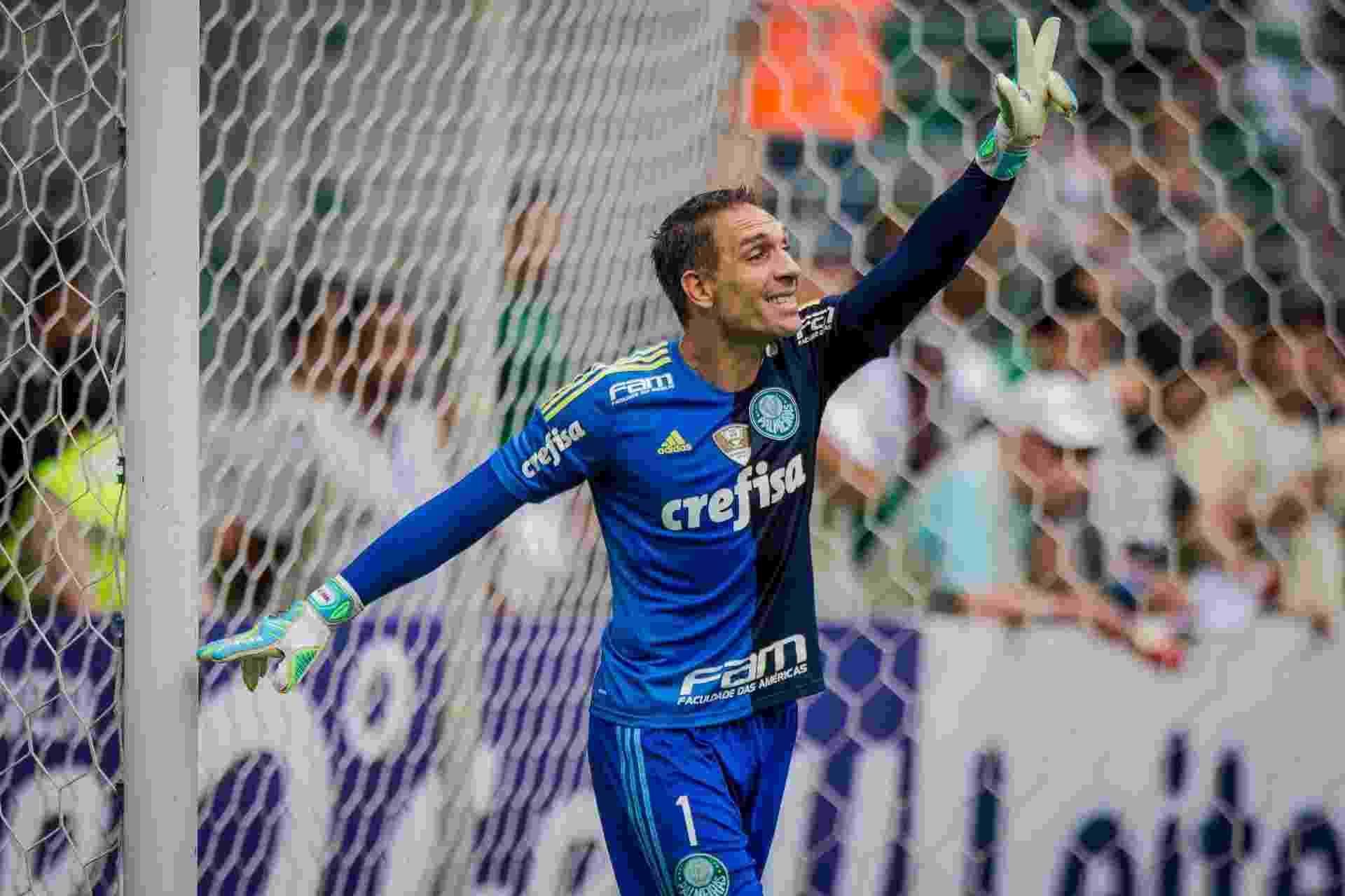 Fernando Prass sinaliza para a equipe do Palmeiras durante o clássico contra o Santos, no Paulista - Eduardo Anizelli/Folhapress, ESPORTE