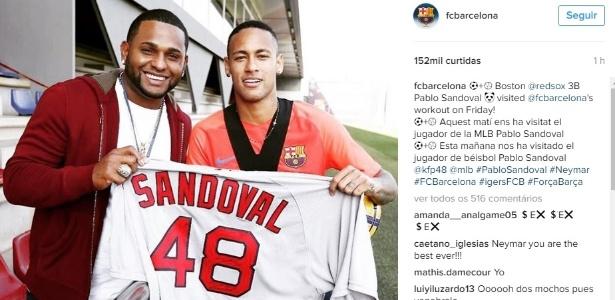 Neymar é tietado por Pablo Sandoval depois de treino do Barcelona