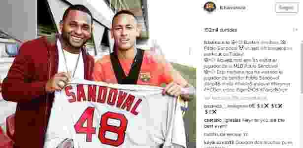 Neymar é tietado por Pablo Sandoval depois de treino do Barcelona  - Reprodução/Instagram